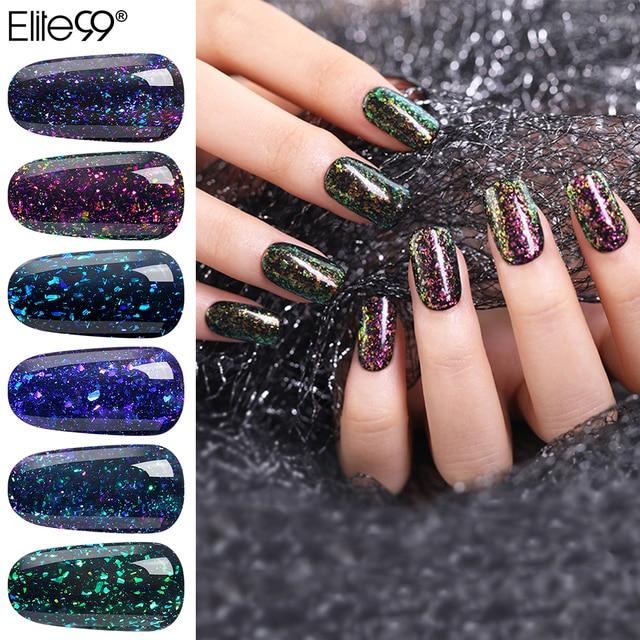Elite99 Chameleon Starry Gel Holographische Starry Sparkle Glitter Tränken Weg Vom UV Led Gel Lack langlebige Nail Lack Schwarz basis