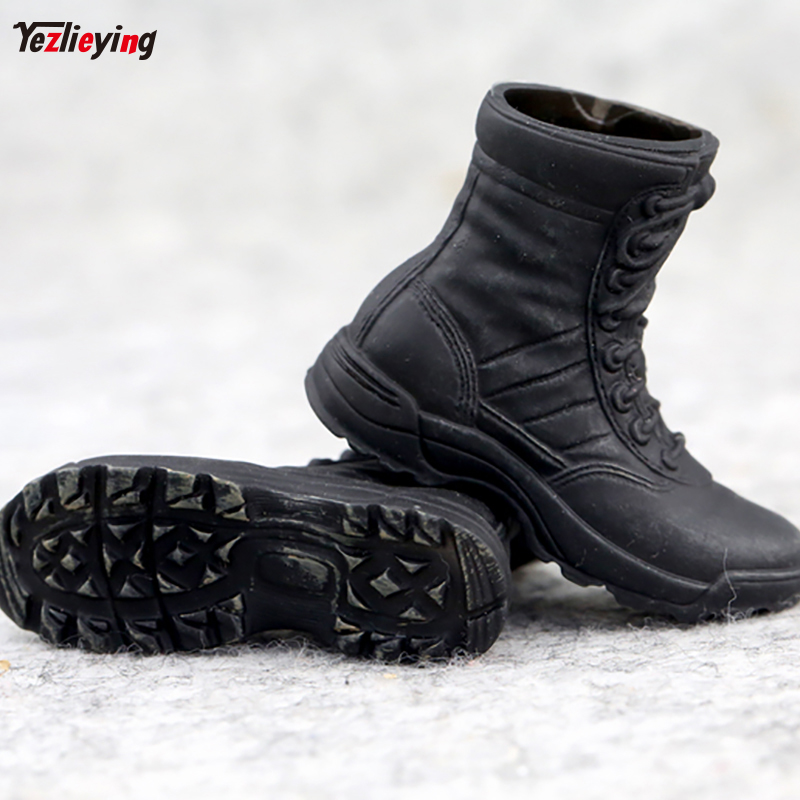 Black Military Soldier Combat Boots Shoes 1/6 Scale Fit 12