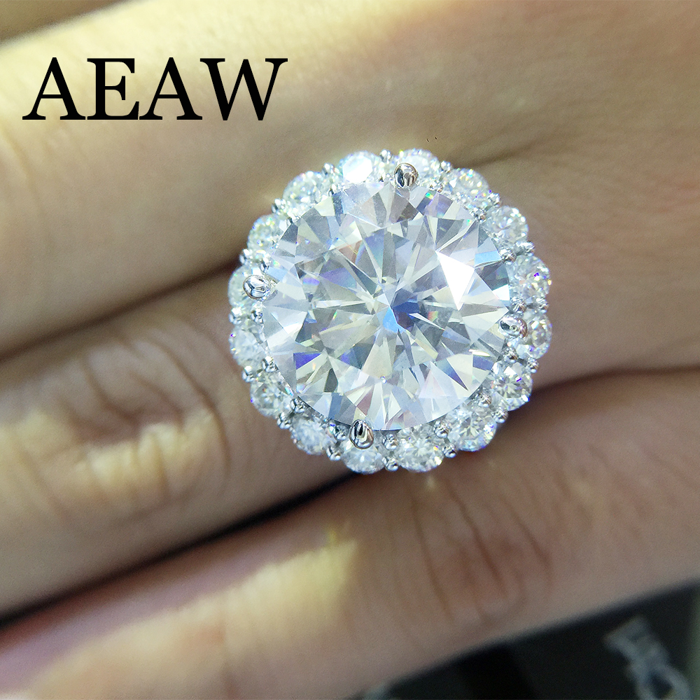 Solid 14K 585 White Gold 13CTW 13mm Round Cut Engagement&Wedding DF Moissanite Diamond Ring Double Halo Ring For Women
