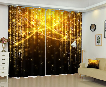 2017 Golden light photo Blackout Window Drapes Luxury 3D Curtains For Living room Bed room Office Hotel Home Wall Tapestry