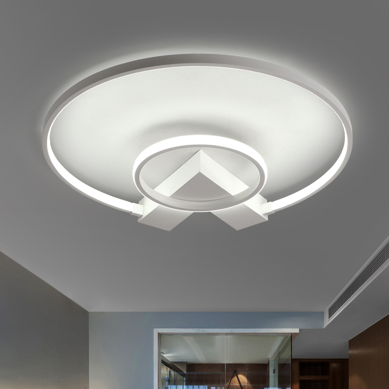 Surface mounted Round modern led ceiling chandelier lights for study room bedroom Kids Aluminum chandelier fixtures lampshade usb3 0 round type panel mounting usb connecter silver surface