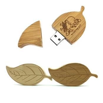 (over 10 pcs free logo ) Leaf Shape USB Flash Drive - Pendrive 8GB 64GB 16GB Flash Drive Pen Drive 32GB Wooden USB Stick Flash -