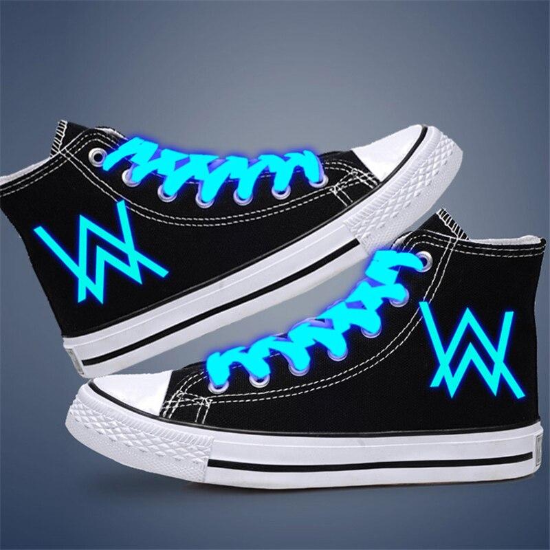 Luminous glow in dark Alan Walker FFF Fairytail Naruto Sword Art Online canvas casual shoes men hip hop Rapper sneakers