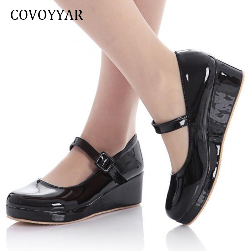 COVOYYAR Mary Janes 2019 Buckle Strap Women High Heels Spring Autumn Patent Leather Women Pumps Big Sizes Wedges Shoes WHH651COVOYYAR Mary Janes 2019 Buckle Strap Women High Heels Spring Autumn Patent Leather Women Pumps Big Sizes Wedges Shoes WHH651