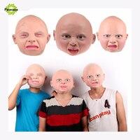 New Adulto Máscara De Látex Capuz Realista Rosto Cheio Rua Engraçado Revoltado Grito Feliz Do Bebê Festa de Máscaras De Halloween Carnaval