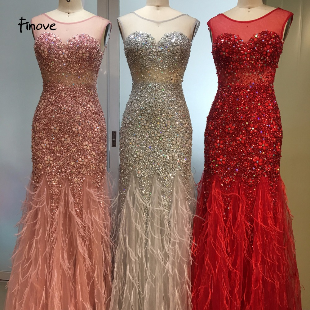Finove New Arrival Long Evening Dresses 2019 Short Sleeves with Beaded Feather Floor Length Mermaid Party Dress Gowns for Woman(China)