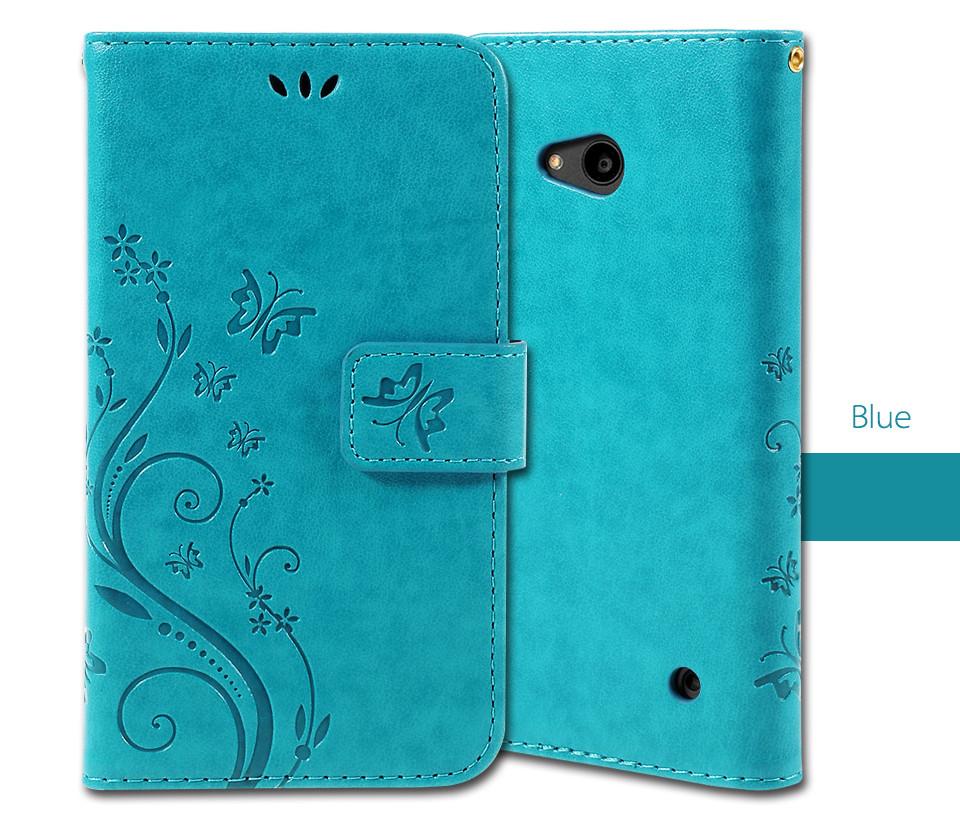 Dla microsoft nokia lumia 640 lumia 630 lumia 550 worek nadrukowane butterfly pu wizytownik skórzany telefon okładka case shell 2