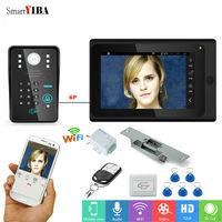 SmartYIBA APP Remote WIFI RFID Doorbell Video System Camera 7HD Monitor Doorphone Intercom 1000TVL+Door Lock+Exit Button