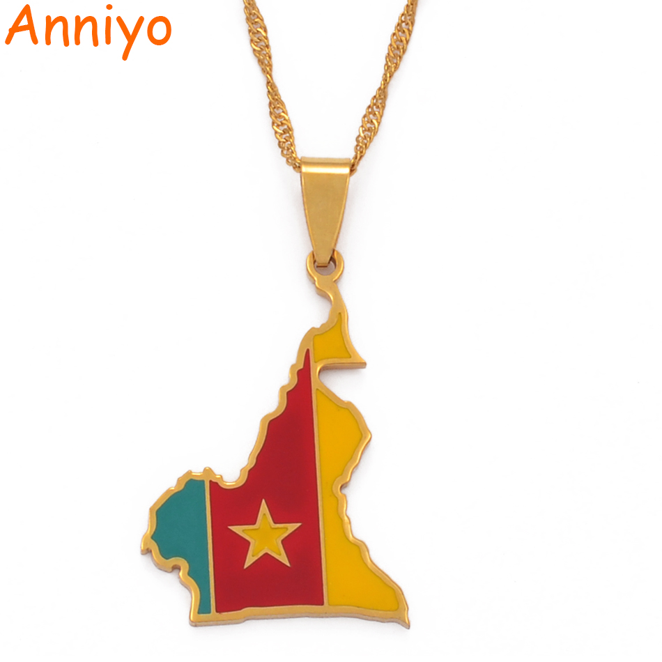 Anniyo Cameroon Map Flag Color Pendant Chain Necklaces Stainless Steel Jewelry Cameroun Country Maps Cameroonians Gifts #098921