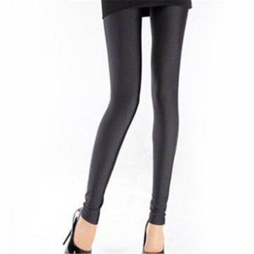 Heißer Verkauf Leggings 2019 Frauen Einfarbig Fluoreszierende Shiny Hose Leggings Große Größe Spandex Shinny Elastizität Casual Hosen