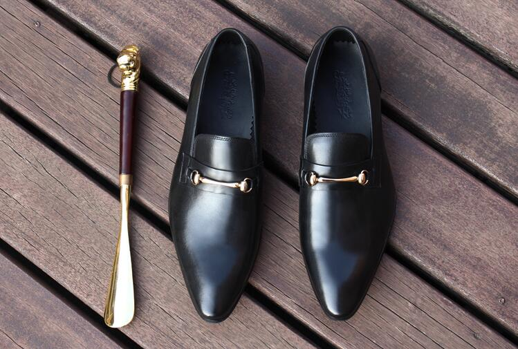 Dress shoes men slip on loafers flats pointed toes genuine leather wedding casual shoes formal business breathable oxfords