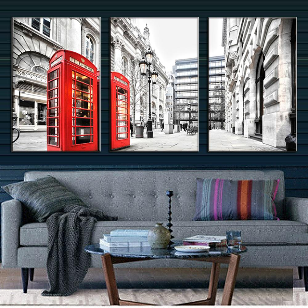 Buy 3 pcs set landscape london red for Modern furniture stores london