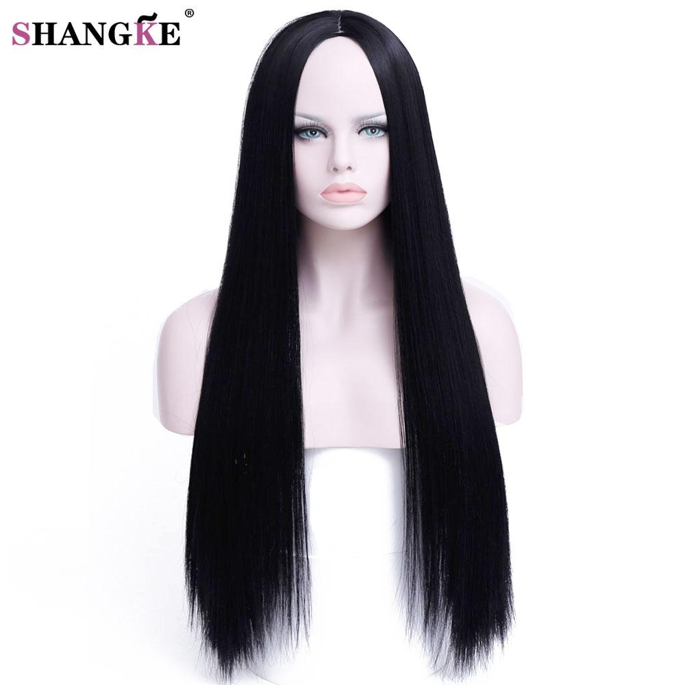 SHANGKE HAIR 30 дюймів Довгий Прямий Перуку Зачіски Термостійкі Синтетичні Перуки Для Жінок Довгий Жіночий Перуки Жінки  t