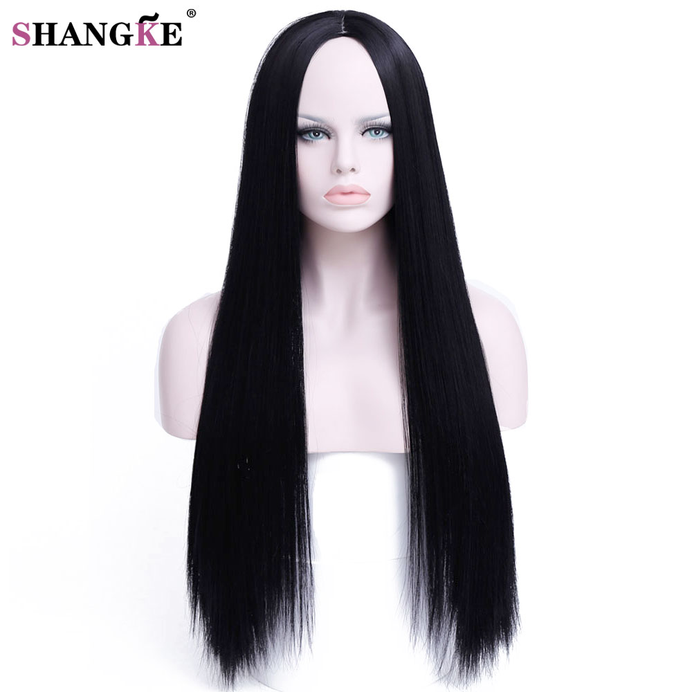 SHANGKE HAIR 30 inch Long Straight Black Wig Hairstyles Heat Resistant Synthetic Wigs For Black Women Long Female Wigs Women