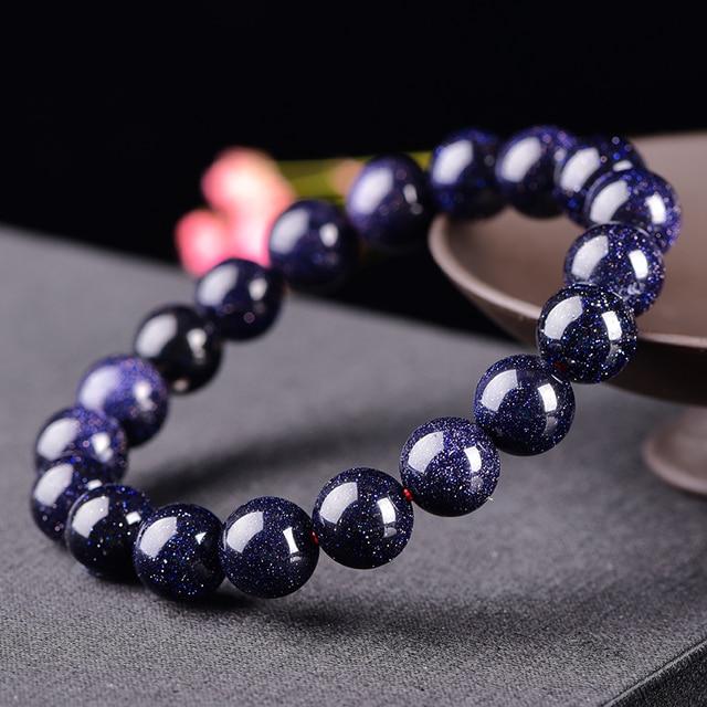 10mm matériau naturel énergie pierres bleu Aventurine Bracelets perles rondes bracelet pour les femmes roses cristal Quartz bijoux amour cadeau