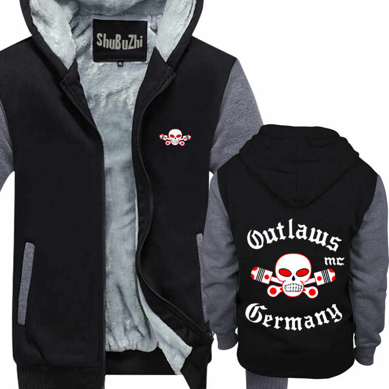 Winter Thick Warm Fleece Zipper Coat for Mens Outlaws MC hoody outlaws  SportWear Tracksuit Male Casual European Hoodies