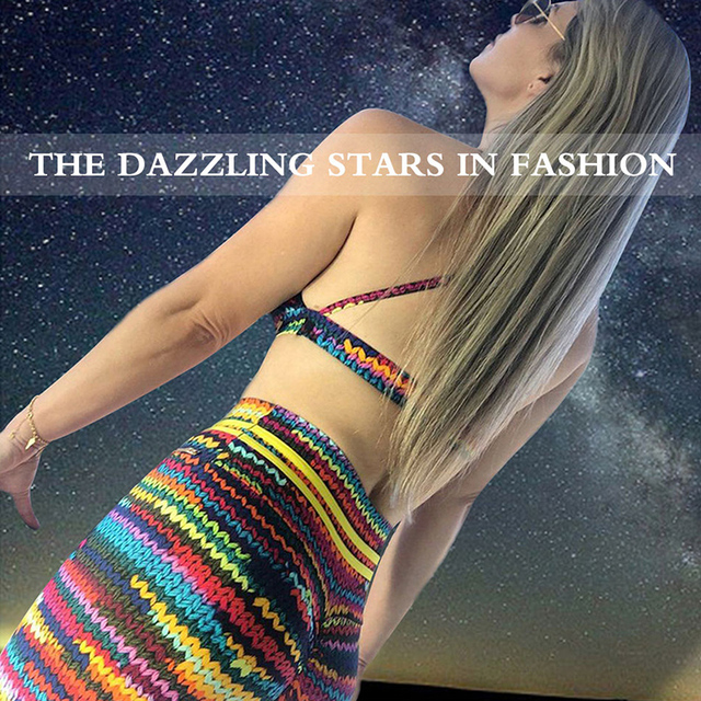 990852a893938 Fitness Women 3D Knit Print Rainbow Leggings High Waist Colorful Sexy Women  Hip Push Up Slim