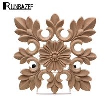 RUNBAZEF White Embryo Rubber Engraving Carved Square Decoration Flower Vintage Home Decor Accessories Miniature Figurine Craft