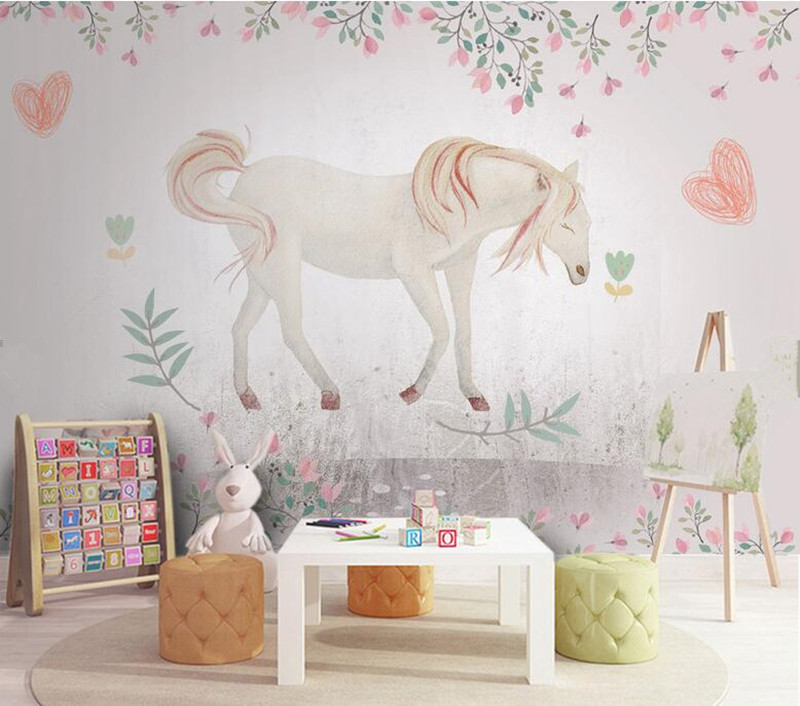 Custom watercolor white horse wallpaper,living room TV sofa background children bedroom 3d cartoon mural papel de parede spring abundant flowers rich large mural wallpaper living room bedroom wallpaper painting tv background wall 3d wallpaper