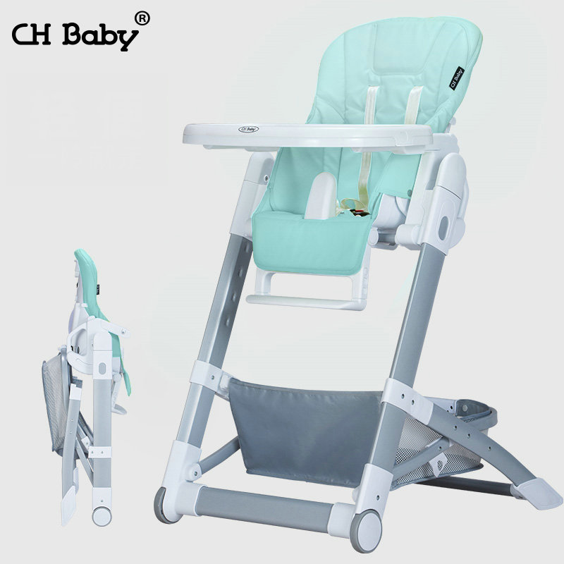 CH baby folding baby highchair, multifunctional portable baby feed chair, seat height adjustable kids chair with PU seat