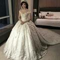 Vintage Illussion O Neck Appliqued Beaded Flowers Short Sleeve Princess Wedding Dresses