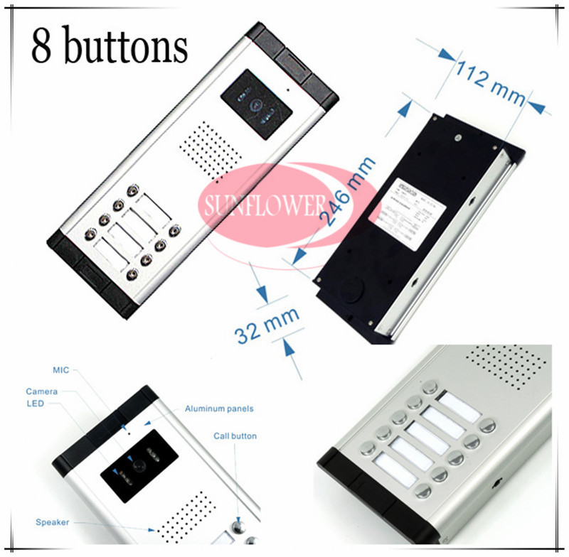 CCD lens outdoor camera Video door phones intercom systems door bells with 8 buttons for 8 apartments HD Camera Drop ship erisson 32les80т2