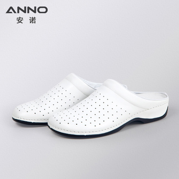 ANNO White Leather Classic Nurse Shoes Flat Hospital Beauty Salon Clog Bottom Safety Work Slippers for Woman Female crocs classic unisex for male for female man woman tmallfs tmallfs shoes