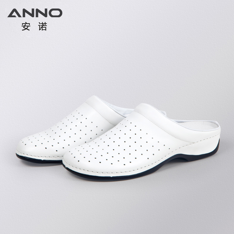 White Leather Classic Nurse Surgical Shoes Flat Hospital Medical Shoes Clog Flat Bottom Safety Work Shoes Woman Shoes