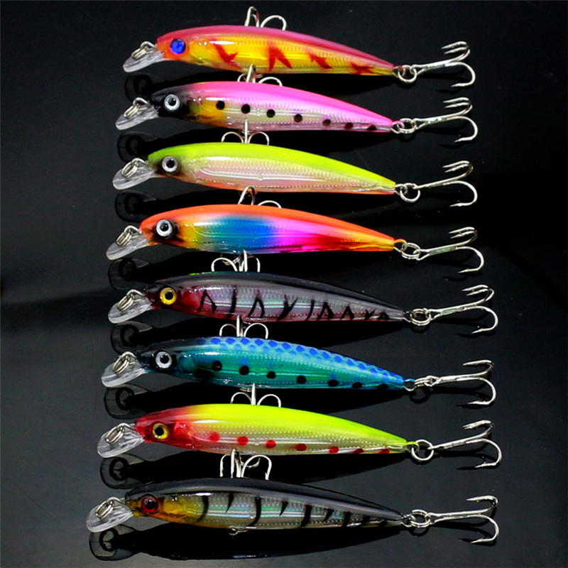 8.5cm 7.4g Hard Plastic Steel Bone Minnow Isca Artificial Fishing Lure Swim Bait Fake Lures Sea Fishing Tackle MI034 wldslure 1pc 54g minnow sea fishing crankbait bass hard bait tuna lures wobbler trolling lure treble hook