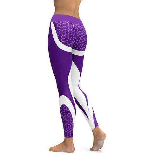 Hayoha Mesh Pattern Print Leggings fitness Leggings For Women Sporting Workout Leggins Elastic Slim Black White Pants 4