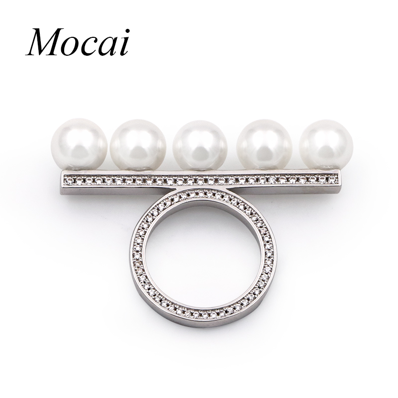 все цены на Fashion Simulated Pearl Ring Wedding Jewelry High Quality Crystal Charm Silver Plated Pearls Rings Special Design ZK30