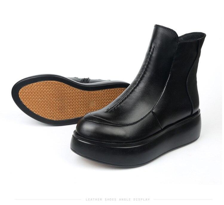 Para Genuino Zapatos Cremallera Vaca Plush Plush Black Mujer Lateral yellow short Tobillo Cuero Plush No Con Botas Piel De Nuevas Planas Suave Otoño Invierno tqvIt