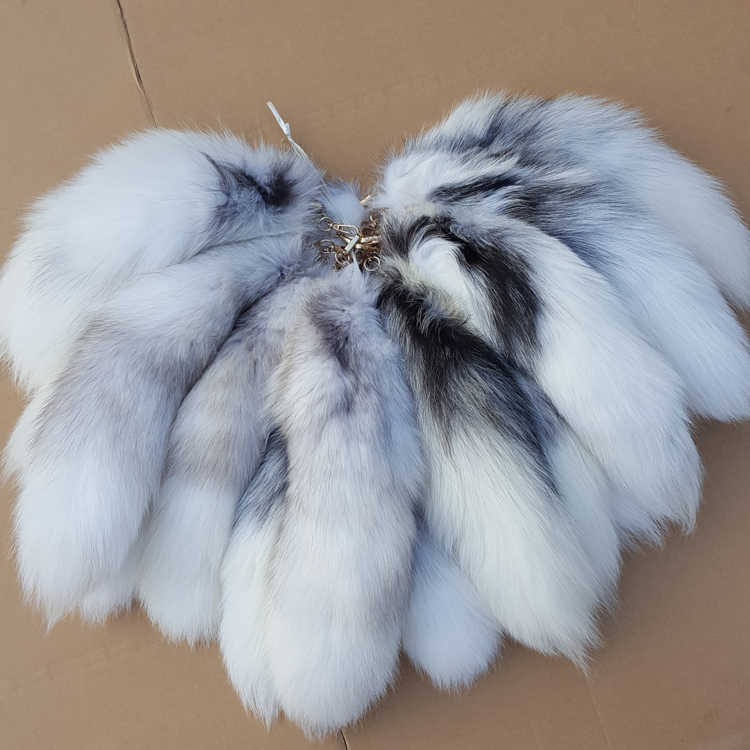 Moda raposa cauda chaveiro quente grande cauda de pele borla saco tag chaveiro cinta corrente cruz pele de raposa chaveiro cor original a77