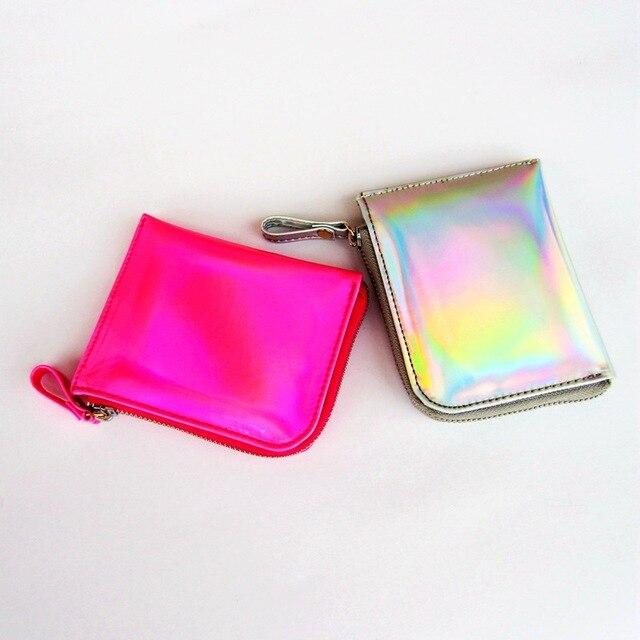 Gsenmo 2017 Laser Wallet Card Holder Women PU Leather rainbow coin purse Metallic Color Carteras Wallet Women Handbag