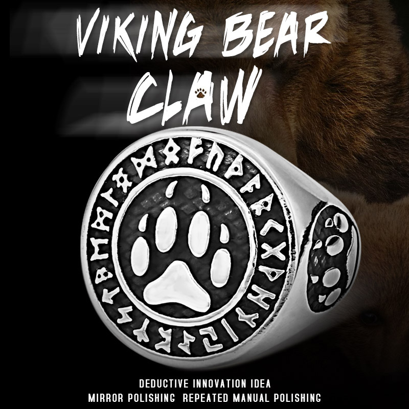 Beier 316L Stainless steel nose viking men ring Bear Paw runes word Odin 's Symbol Amulet Myth scandinavian jewelry LR618(China)
