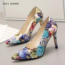 Купить с кэшбэком women shoes fashion graffiti print pumps 2019 Summer New dress shoes women pointed toe high heels Elegant women designer shoes