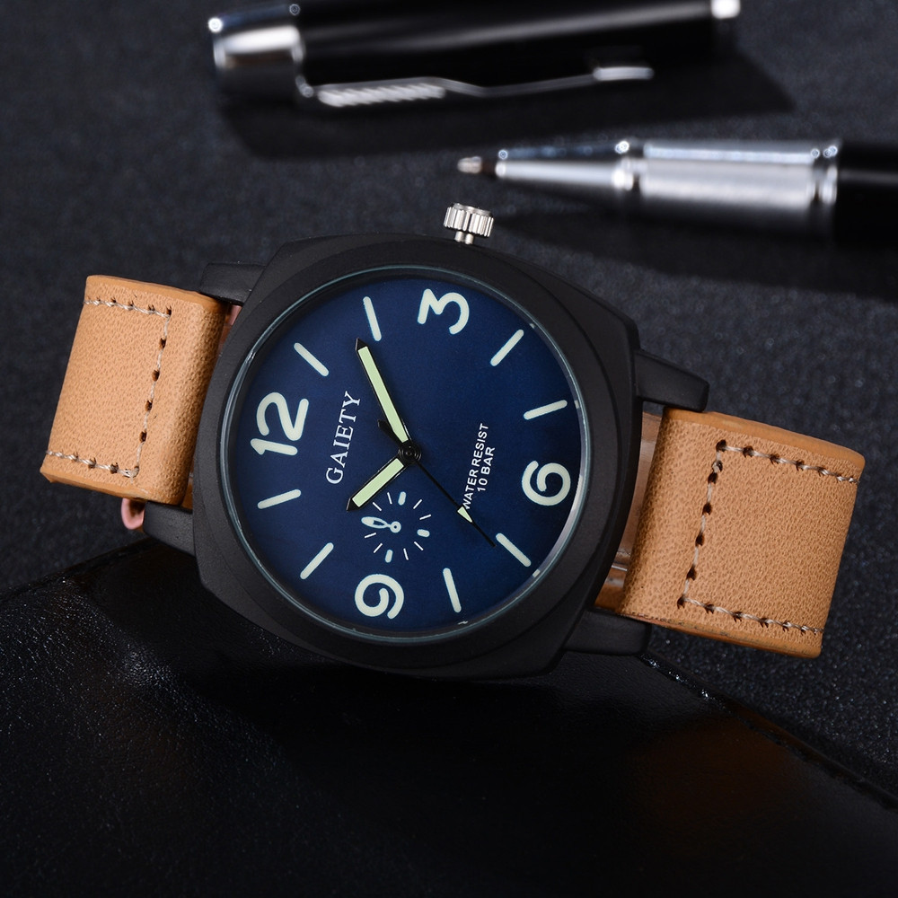 Man Watch 2019 Fashion Casual Men's Watch Leather Military Alloy Analog Quartz Wrist Mens Clock Business Watches horloges mannen