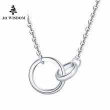 JO WISDOM New Arrival Fine Jewelry Silver Pendants Double Different Size Round Pendant Accessories Costume Jewelry Summer Style
