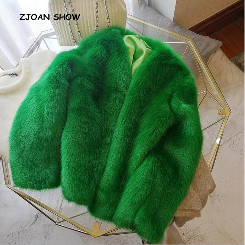 2018 New Women Winter Green V Neck Hairy Shaggy Faux Fox Fur Jackets Vintage Long Sleeve Furry Faux Fur Coat Loose Outerwear