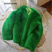 2018 New Women Winter Green V Neck Hairy Shaggy Faux Fox Fur Jackets Vintage Long sleeve Furry Faux Fur Coat Loose Outerwear