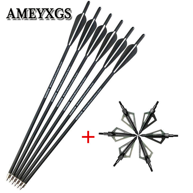 12pcs 20 Archery Crossbow Bolts Arrows With 100 Grain Hunting Tips Arrowheads Broadheads For Outdoor Shooting