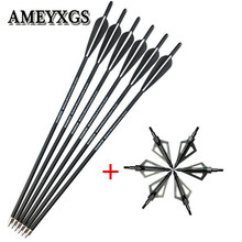"""12pcs 20"""" Archery Crossbow Bolts Arrows With 100 Grain Hunting Tips Arrowheads Broadheads For Outdoor Shooting Accessories"""