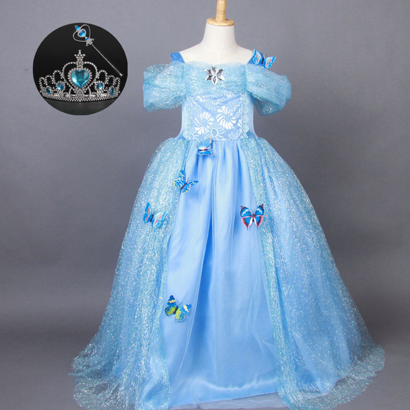 Autumn 2017 Christmas Birthday Dress 3-11Y Kids Party Clothes Princess Cinderella Children Halloween Costumes for Girls Outfit fashion christmas dress girls party accessories children s halloween costumes for girls party dress kids cute birthday dresses
