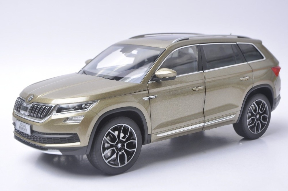 1:18 Diecast Model for Skoda Kodiaq 2017 Gold SUV Alloy Toy Car Collection Gifts 1 18 scale red jeep wrangler willys alloy diecast model car off road vehicle model toys for children gifts collections