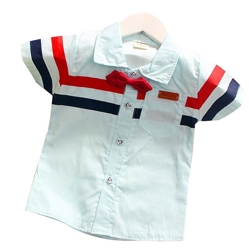 2015 Kinder Sommer Kurzarm-shirt Boutique Kinderbekleidung Heißer Stil Baumwolle Gentleman Fliege Shirt 1-3 Jahr Extrem Effizient In Der WäRmeerhaltung