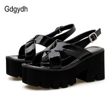 3f10ca473258 Gdgydh Patent Leather Women Platform Sandals Block Heel Black Summer Shoes  Gothic Punk Shoes Woman Back Strap 2019 Drop Shipping