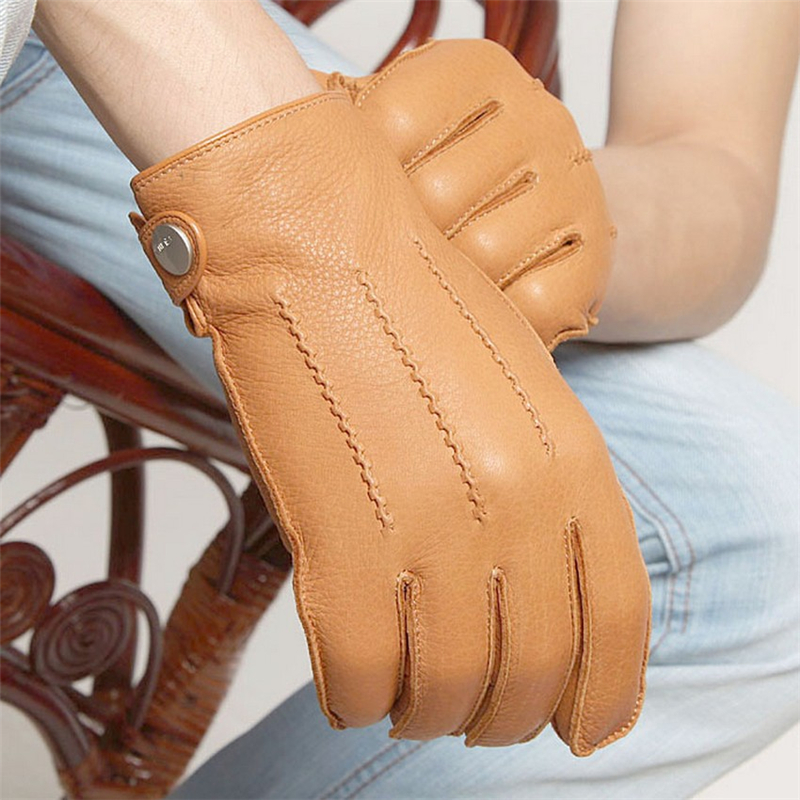 Luxury Fashion 2018 Men Deerskin Gloves Button Wrist Solid Genuine Leather Male Winter Driving Glove Free Shipping EM012WR 5 in Men 39 s Gloves from Apparel Accessories