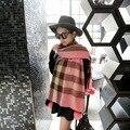 2017 mujeres del invierno de moda manta bola de conejo bufanda bufandas chales de piel poncho echarpe foulard femme a cuadros bufandas shemagh