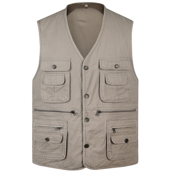 Spring autumn new 100% Cotton Multi Pocket Vest Men Summer 2019 New Male Sleeveless Jacket Mens Photographer Baggy Waistcoat