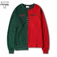 Aelfric Eden Men Hip Hop Irregular Hem Hoodies Sweatshirts Splice Color Hoodie Pullover Male Fashion Hombre Sweatshirt SNL636